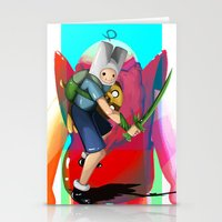 finn and jake Stationery Cards featuring Finn & Jake by Joshua M. Rhodes III