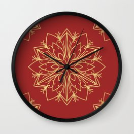 Golden Snowflake Wall Clock