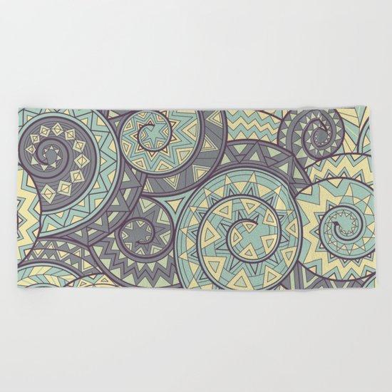 nagual. tribal seamless pattern Beach Towel