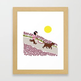 Petunia - dog jogging  Framed Art Print