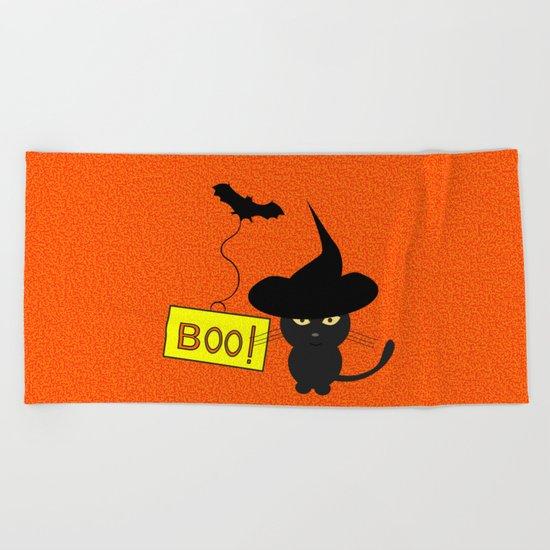 Cute cat on Halloween Beach Towel