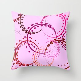 Pastel curls and circles of burgundy shades on a pink background. Throw Pillow