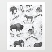 political Art Prints featuring Political Toile by Jessica Roux