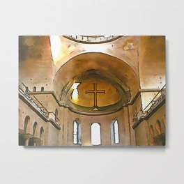 Golden Cross Of The Hagia Eirene Constantinople Black Outline Art Metal Print