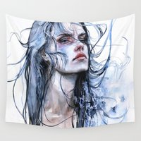 shipping Wall Tapestries featuring obstinate impasse by agnes-cecile