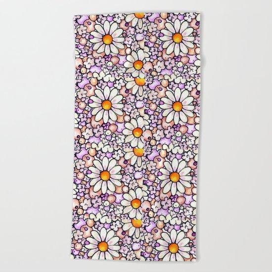 Large Blush Daisies Tiled Beach Towel
