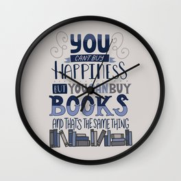 Happiness and Books Wall Clock
