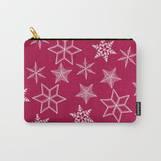 Snowflakes on red background Carry-All Pouch