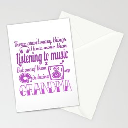 Listening To Music Grandma Stationery Cards