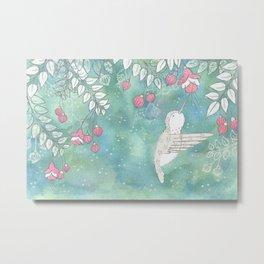 Hummingbird's Garden: In the fuschias Metal Print