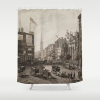 broadway Shower Curtains featuring Vintage Broadway NYC Illustration (1840) by BravuraMedia