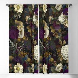 Dutch Vintage Midnight Flower Garden  Blackout Curtain