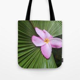 Pink Plumeria Flower Tote Bag