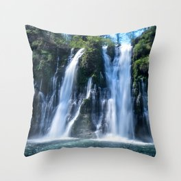 Flowing Waters (McArthur-Burney Falls) Throw Pillow