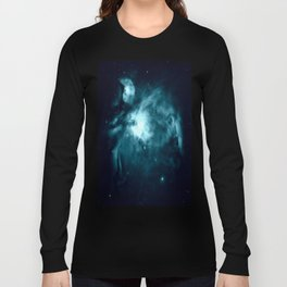 Teal Orion nebula : Hauntingly Beautiful Space Series Long Sleeve T-shirt