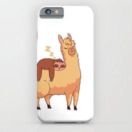 Sleepy Sloth Sleeping on Llama iPhone Case