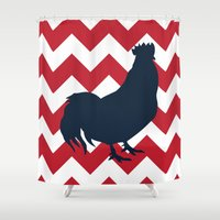 rooster Shower Curtains featuring Rooster by Gathered Nest Designs