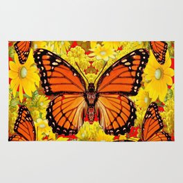 VICEROY BUTTERFLIES & YELLOW FLOWERS RED ART Rug