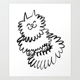 Cute Fluffy Cat Watercolor Art Print