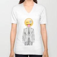 suit V-neck T-shirts featuring Suit & Tie  by BTP Designs