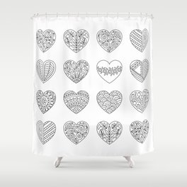 Tiny Hearts and Patterns, Adult Coloring Pattern Shower Curtain