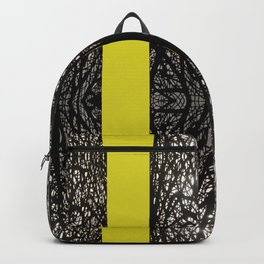 Gothic tree striped pattern mustard yellow Backpack