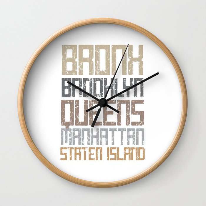 New York City Boroughs Wall Clock