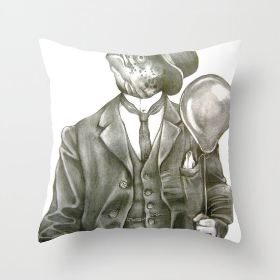 In which nothing says happy birthday like a fish in a suit Throw Pillow