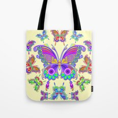 Butterfly Colorful Tattoo Style Pattern Tote Bag