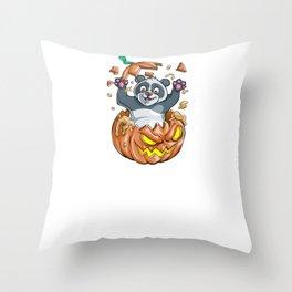 Panda Pumpkin, It's Show Time Funny Halloween Horror Scary Throw Pillow