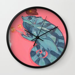 Howdy, Legless Dan, the Chameleon, 2020, Kayla Kinsella Meier Wall Clock