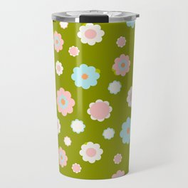 White, blue and pink flowers over green background Travel Mug