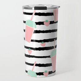 cute lovely pattern background with strawberry smoothies on black brush Travel Mug