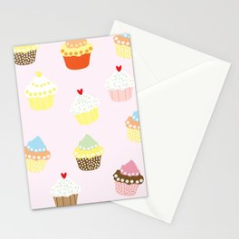 Cupcake Pattern Sweets Collection Fun Pink Desserts Pattern Stationery Cards