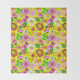 60's Lovers Floral in Sunshine Yellow Throw Blanket