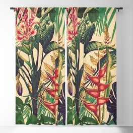 Vintage Tropical Flora (green) Blackout Curtain