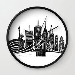 Linocut New York Wall Clock