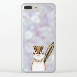 chipmunk woodland animal portrait Clear iPhone Case