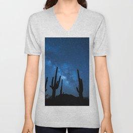 Joshua Tree, Mojave Desert Under Stars, Night Unisex V-Neck