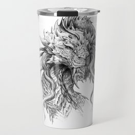 Dark Side Japanese Dragon portrait | Graphite Pencil art Travel Mug