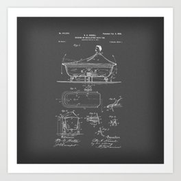 Rocking Oscillating Bathtub Patent Engineering Drawing Art Print