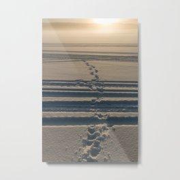 Footprints in snow Metal Print
