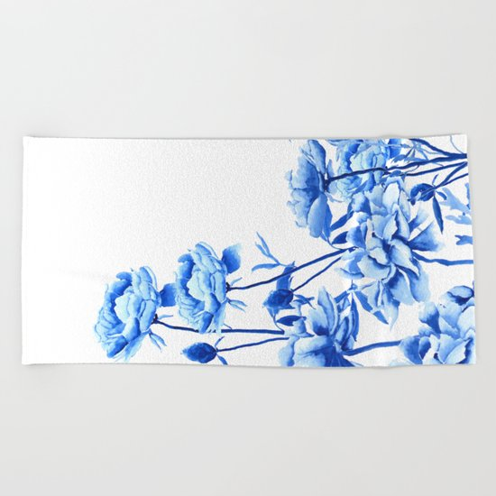 blue peonies Beach Towel