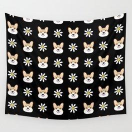 Corgi welsh corgi daisy flowers spring summer florals dog breed pet portrait by pet friendly Wall Tapestry