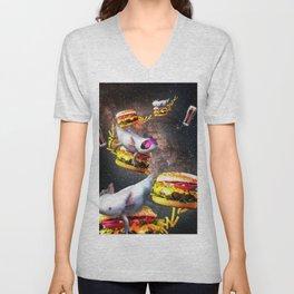 Galaxy Axolotl On Burger - Space Cheeseburger Axolotl Unisex V-Neck