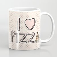 nutella Mugs featuring I Love Pizza by Tangerine-Tane