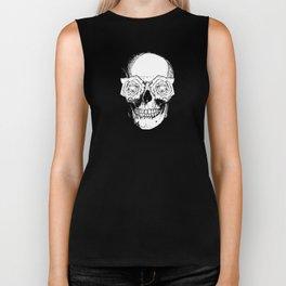 Skull and Roses | Black and White Biker Tank