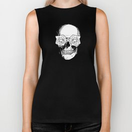 Skull and Roses | Black and White Biker Tank