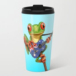 Tree Frog Playing Acoustic Guitar with Flag of Australia Travel Mug