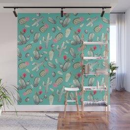 Cactus Pattern   Cacti Print Hot Pink onTeal Wall Mural